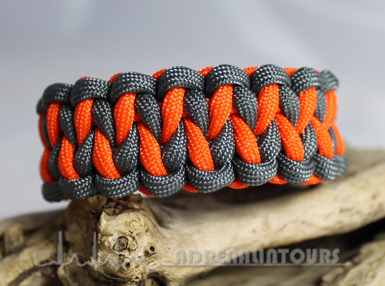 Bekannt Paracord Uncas Art . Paracord Armband DRAGON TEETH - grau / orange YE34