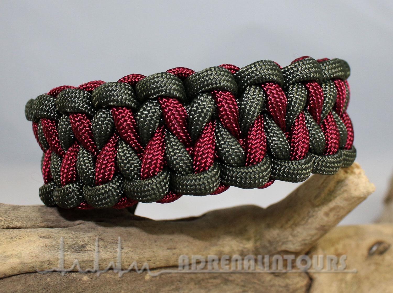 Sehr Paracord Uncas Art . Paracord Armband DRAGON TEETH - bordeaux / olive OI95